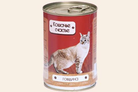 Кошачье счастье Говядина, 410г (упаковка 20 банок)