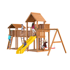 Детская площадка Jungle Palace + Jungle Cottage (без горки) + жесткий мост +  Rock + Swing