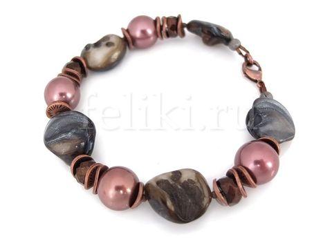 браслет из перламутра разноцветного и розового жемчуга майорки_фото