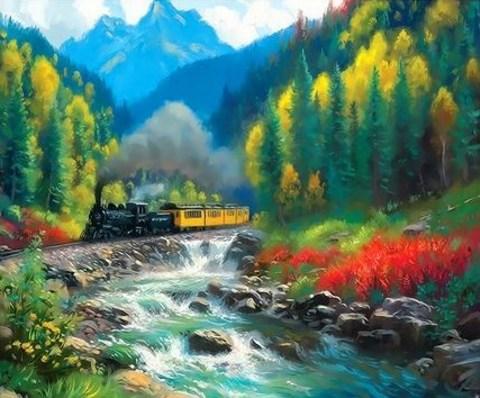 Алмазная Мозаика 40x50 Следование поезда в горной местности
