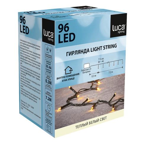 Гирлянда теплый белый свет б/о 96 лампы 720см таймер на откл. 6/18, для наруж. и внутрен. использ.