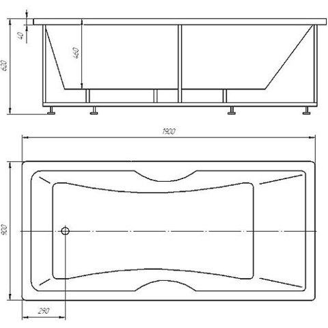 Ванна акриловая Auatek Феникс 190х90cм. на каркасе и сливом-переливом. схема