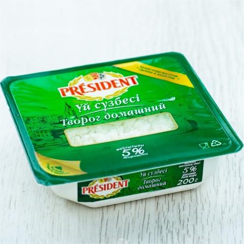 Творог PRESIDENT Домашний 5% 200 г New ванна Food Master КАЗАХСТАН
