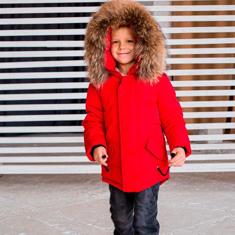 Зимова підліткова червона парка з хутром