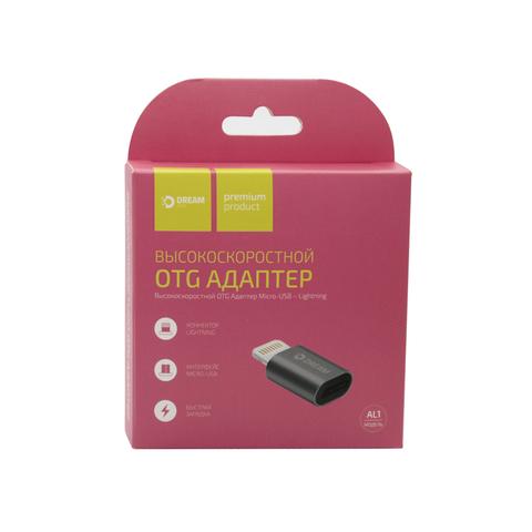 Высокоскоростной OTG адаптер черного цвета с Micro USB на Lightning