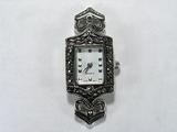 Основа для часов, металлическая, 51x20 мм, посеребренная, с марказитом, 1 шт.