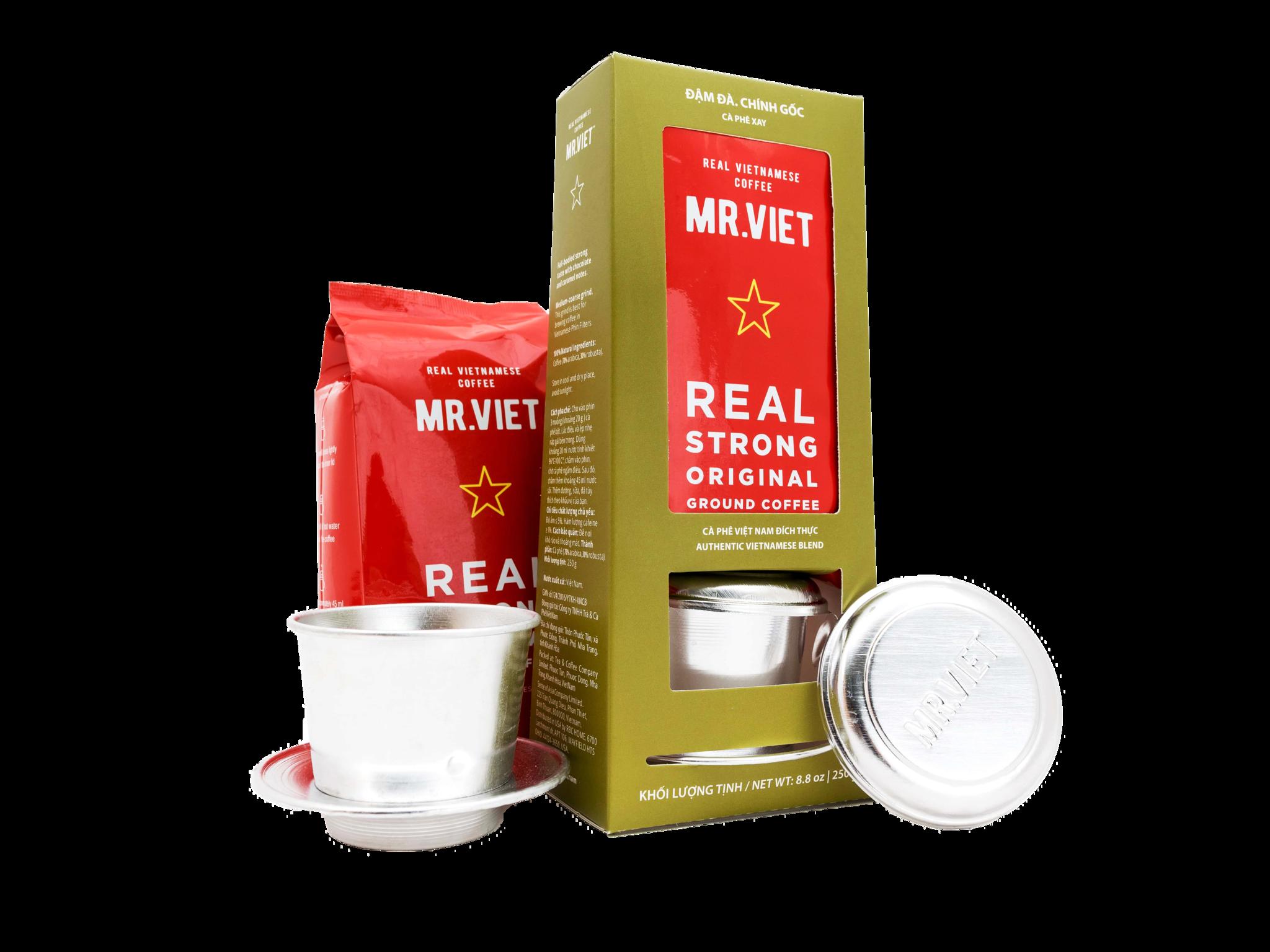Кофе молотый Mr.Viet Real strong original набор с фином 250 г