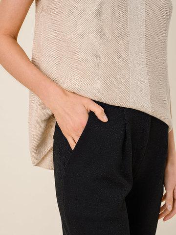 Женские брюки с карманами черного цвета из шелка и вискозы - фото 4