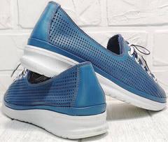 Дышащие кроссовки сникерсы женские летние смарт casual Wollen P029-2096-24 Blue White.