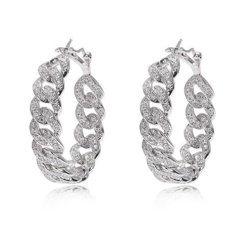 24557 - Серьги-конго d40 мм Chain из серебра с цирконами ширина 10мм