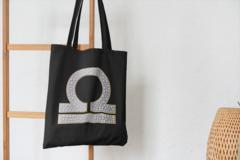 Сумка-шоппер с принтом Знаки Зодиака, Весы (Гороскоп, horoscope) черная 005