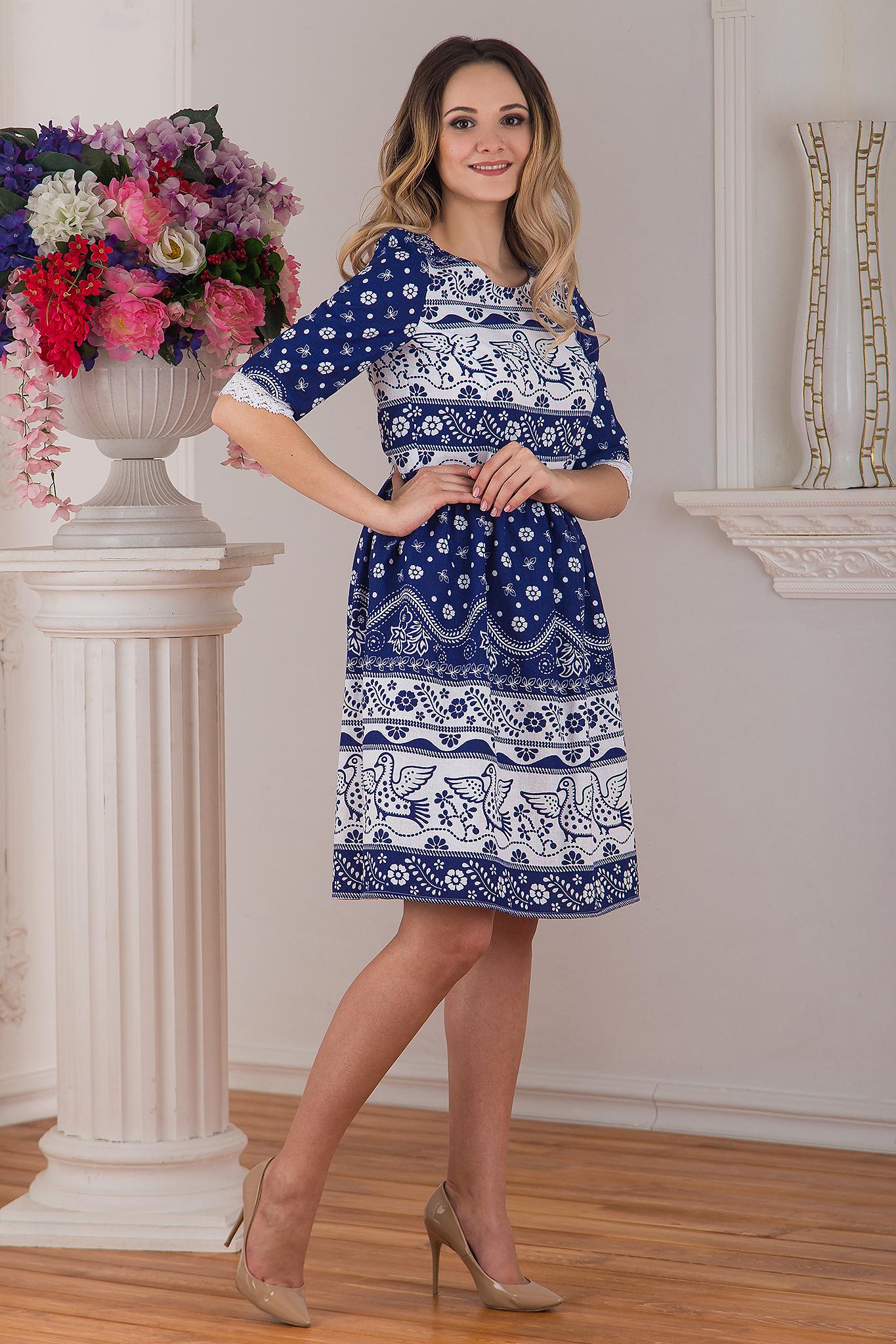 Платье льняное современное Синяя птица от Иванка вид сбоку