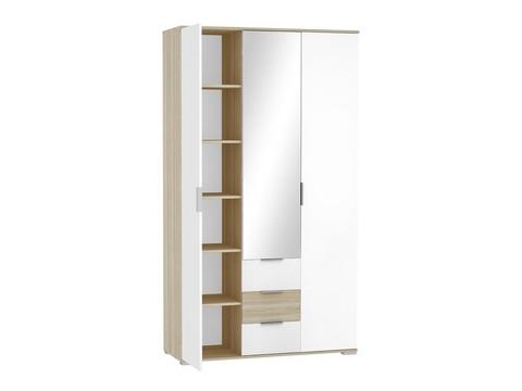 Шкаф трехстворчатый Терра ШК-823 Браво Мебель дуб сонома, белый глянец