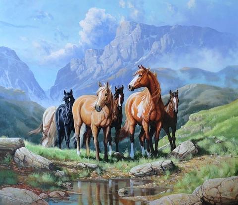 Алмазная Мозаика 40x50 Лошади пришли на водопой