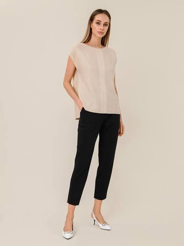 Женские брюки с карманами черного цвета из шелка и вискозы - фото 2