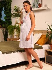 Мамаландия. Сорочка для беременных и кормящих с лифом на кнопках, единорог/серый меланж