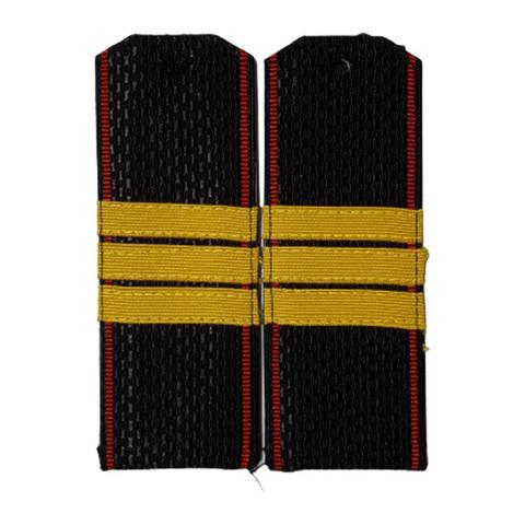 Погоны черные МП сержант с шелковым галуном (пог. лента,на пластике)