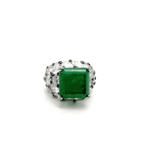 40056- Крупное кольцо с изумрудным кварцем в стиле Graff