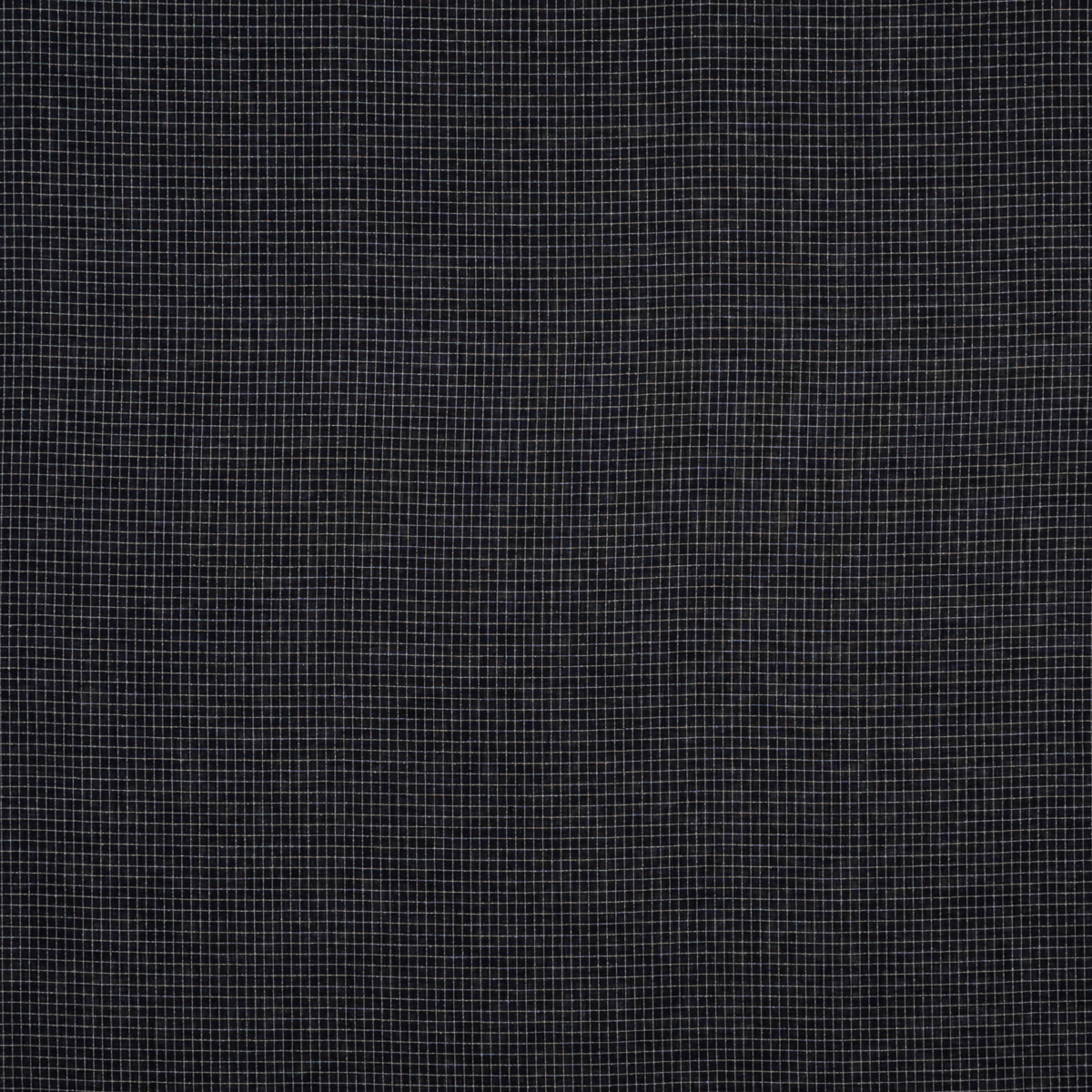 Полупрозрачный лён с шёлком чернильного цвета в клетку