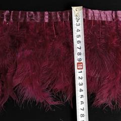 Купить оптом перья Марабу на ленте Burgundy бордовый в интернет-магазине
