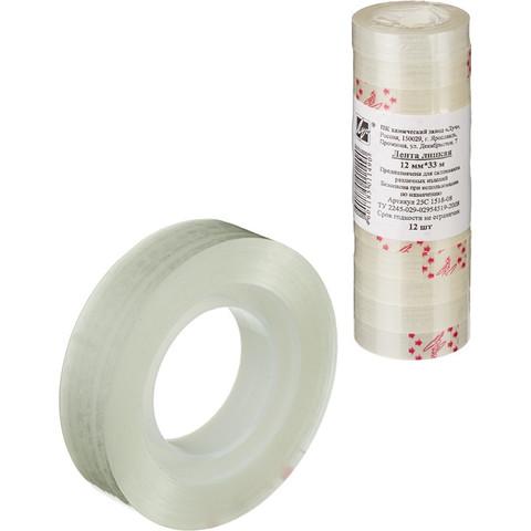 Скотч клейкая лента канцелярская прозрачная 12 мм х 33 м (12 штук в упаковке)