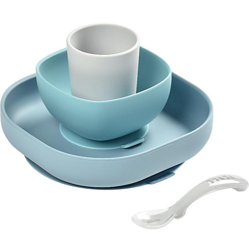 Набор посуды: 2 тарелки, стакан,ложка (4 предмета) из силикона Jungle