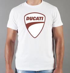 Футболка с принтом Ducati (Дукати) белая 0014