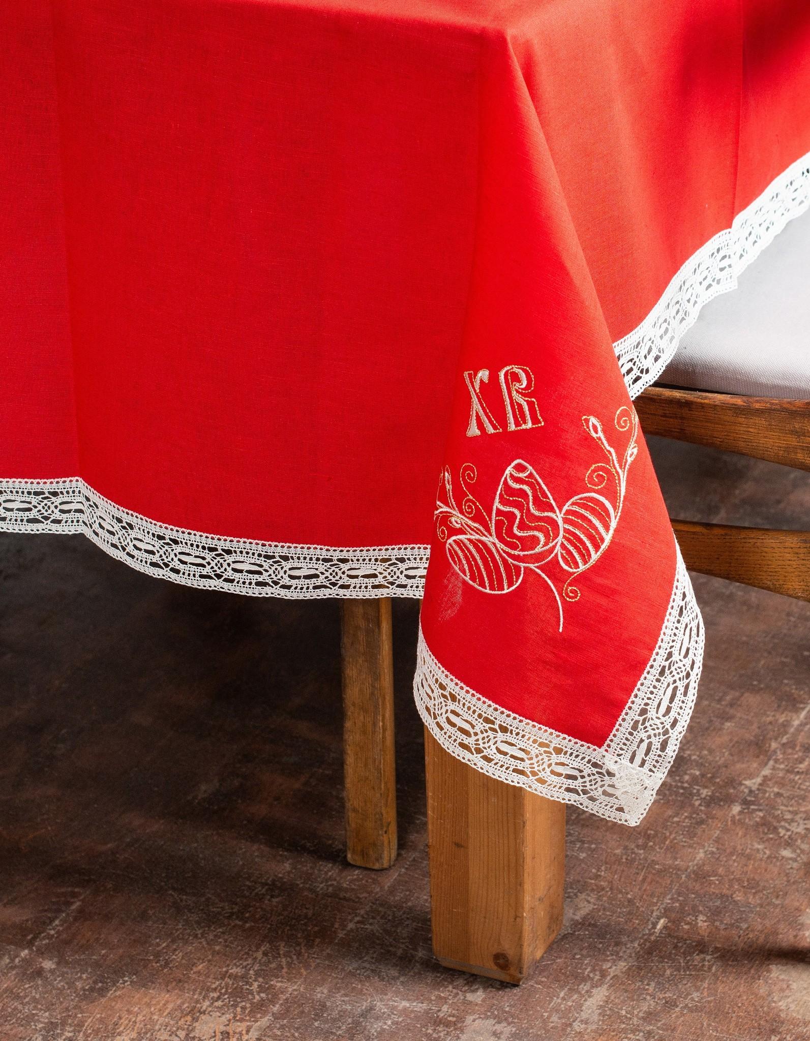 Пасхальная скатерть с кружевом и вышивкой