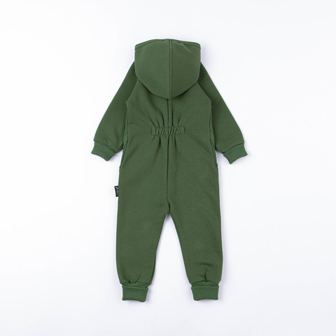 Warm hooded jumpsuit with pockets - Khaki