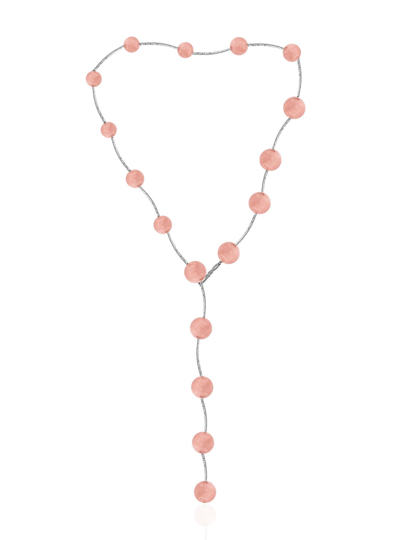 Колье из розового кварца