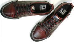 Модные мужские кеды кроссовки натуральная кожа Luciano Bellini C6401 MC Bordo.