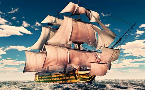 Алмазная Мозаика 40x50 Корабль на волнах (арт. HWA2935 )
