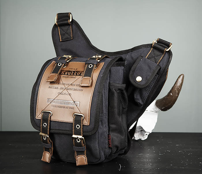 BAG307-1 Мужская сумка черного цвета из текстиля отличного качества фото 05
