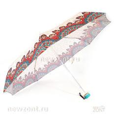 Светлый мини зонтик с бирюзово-красными узорами, АртРайн