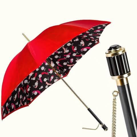 яркий женский зонтик красного цвета