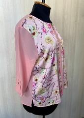 Ліза принт. Стильна блуза великих розмірів. Пудра