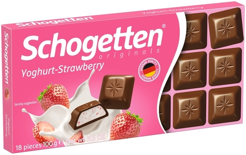 Шоколад Schogetten Yoghurt & Strawberry со вкусом клубничного йогурта  100 гр