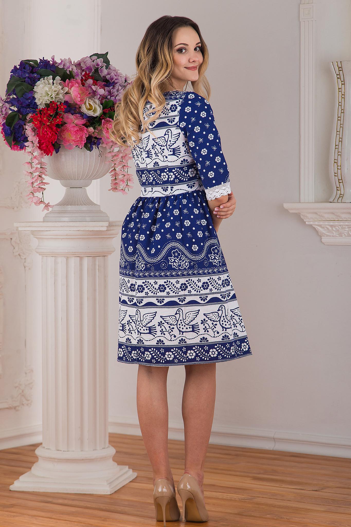 Платье льняное современное Синяя птица от Иванка вид сзади