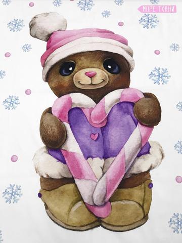Панель(купон)  мишка в  пальто с розовым сердечком -75*100 см
