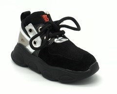 Комбинированные черные кроссовки на платформе