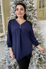 Люсия. Красивая нарядная женская блуза. Синий