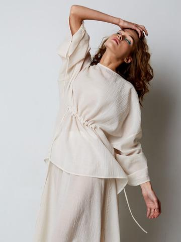 Блуза из шерсти и шелка со сборкой молочный
