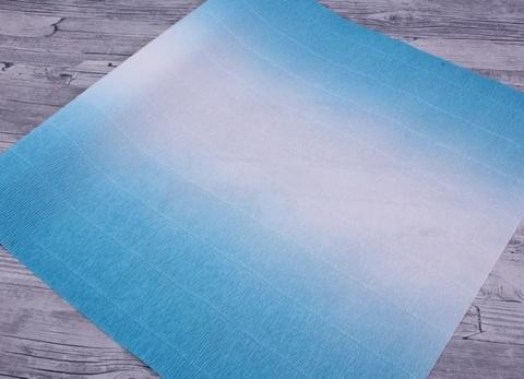Гофрированная бумага с переходом. цвет 600/2 бело-голубой, 180г, 50х250 см, Cartotecnica Rossi (Италия)