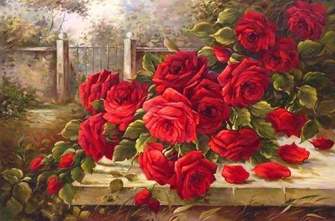 Картина раскраска по номерам 30x40 Красные розы на столе в деревне