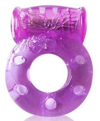 Фиолетовое эрекционное виброкольцо с бабочкой