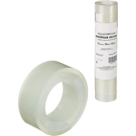 Скотч клейкая лента канцелярская прозрачная 15 мм х 10 м (12 штук в упаковке)