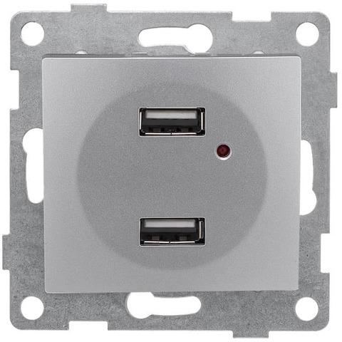Розетка зарядка USB. Цвет Серебро. Bravo GUSI Electric. С10USB2-004