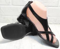 Стильные босоножки сандали женские кожаные Evromoda 166606 Black Leather.