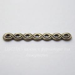 Винтажный декоративный элемент - разделитель 32х5 мм (оксид латуни)
