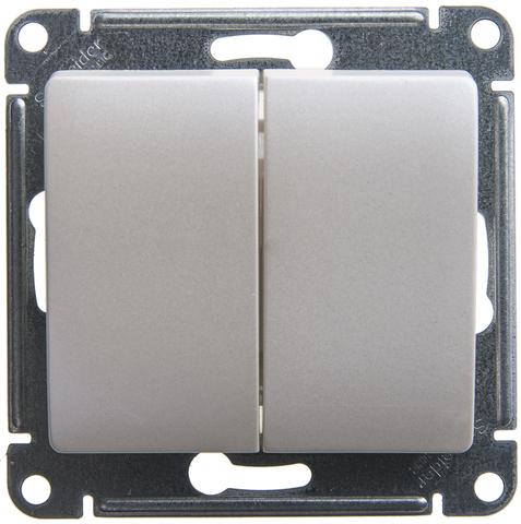 Выключатель двухклавишный, 10АХ. Цвет Перламутр. Schneider Electric Glossa. GSL000651